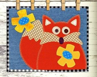 FELIX THE FOX | pdf Mug Rug Pattern | Mug Rugs | Fox Mug Rug | Foxes | Fox | Fun Mug Rugs | Cute Mug Rugs | Kitchen