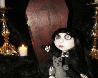 Art doll OOAK:handmade art doll goth doll unique vampire girl doll with teddy bear and coffin 100% HANDMADE art doll, teddy bear, and coffin