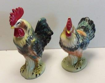 Vintage rooster & hen pair