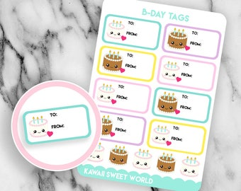 Kawaii Birthday To/From Tags | Planner Sticker Sheet
