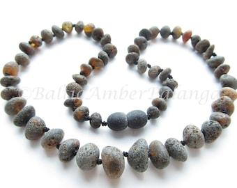 Baltic Amber Necklace For Adults, Raw Unpolished Black Beads