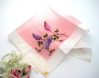 """Vintage Hanky, Swiss Embroidered Lilacs, Pink Ombre Graduation Cotton Organdy, Hemstitched, Mint With Paper Tag, 18"""" x 18"""""""