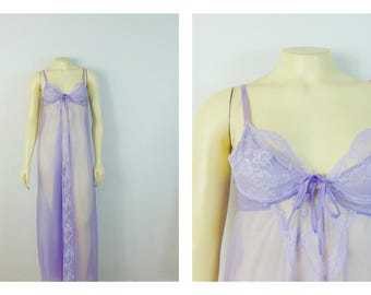 Vintage Nightgown 70s Lavender Chiffon Full Length Underwire Size Small Made in USA