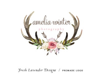 Custom Logo Design Premade Logo and Watermark for Photographers and Small Crafty Businesses Watercolor Antler with Hand Drawn Flowers