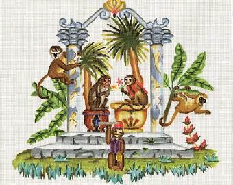 Handpainted Needlepoint Monkey Canvas - Brown, Green, Gold - Monkeys in Tropical Garden