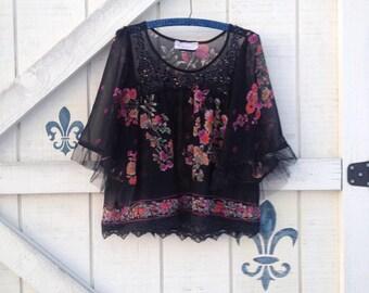 Hippie black blouse, S romantic blouse, black lace top, romantic lace blouse,