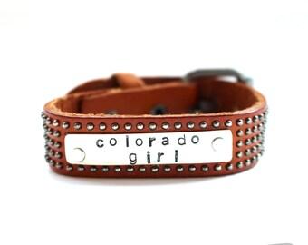 leather cuff, leather bracelet, colorado girl, studded leather bracelet, silver and leather bracelet, buckle bracelet, stamped bracelet