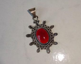 Vintage Carnelian Sterling Silver Pendant Sunburst Oval Design