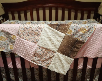Deer Baby Girl Crib Bedding -  Sleeping Fawn, Feathers, Deer Skin Minky,  Ivory Crushed minky, and Blush Crib Bedding Ensemble