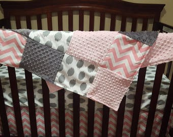 Baby Girl Crib Bedding - Light Pink, Pink Chevron, and White Gray Jojo dot Crib Bedding Ensemble with Patchwork Blanket