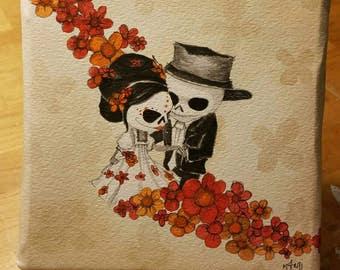 Day of the Dead, dia de los muertos, sugar skull art, skulls, original watercolor art, wedding gift, halloween