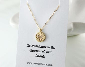 Gold compass necklace - Graduation gift - Go confidently in the direction of your dreams - Gold star - Inspirational gift - Gift for grad