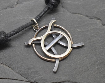 Pisces taurus necklace oxidised sterling silver