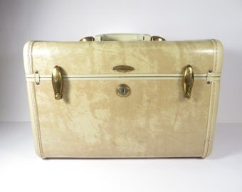 Vintage Samsonite White Marbled Train Case - Mid Century Samsonite White Travel Case