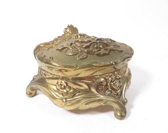 Vintage Gold Metal Box - Ornate Gold Metal Jewelry Casket