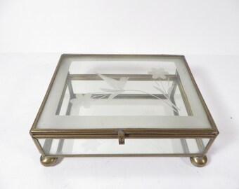 Vintage Glass Brass Box - Etched Bird Flower Rectangle Glass Box - Jewelry Casket