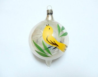 vintage glass ornament, bird ornament, vintage Christmas ornament, large ornament, hand painted