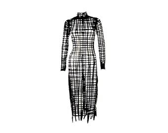 SASHA LOUISE High neck backless latex net dress