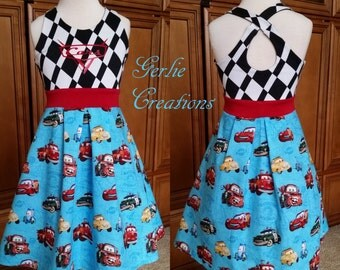 Girls CARS Dress, Girls Dress, Cars, Lightning McQueen, Mater, Luigi, Guido,Sheriff, Red - Available 2y - 12y