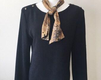Women's Vintage Studio 1 Front Tie Black Top Size 12
