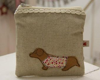 Handmade linen sausage dog purse - dachshund purse - machine embroidered purse - made in the UK