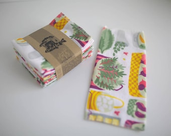 Unpaper Towels Cloth Napkins 12 Flannel Tissues  - Choose Your Size  - 1 PLY - Farmers Market Print