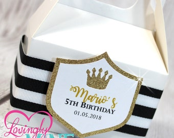 Mini Gable Favor Boxes - Set of 10 - Striped Black & White Ribbon Glitter Gold White - Baby Shower, Royal Birthday Party Favor Candy Bags