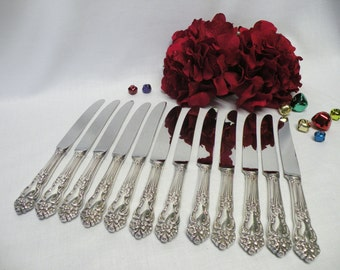 Reed and Barton Silverplate Dinner Knives, Set of 12, Tiger Lily-Festivity - Silverplate Flatware Replacements - Holiday Flatware, Weddings