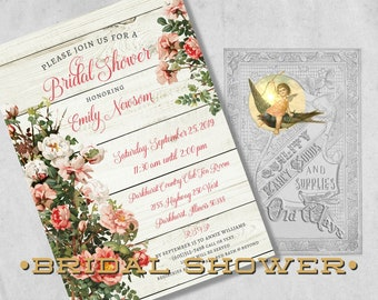 Rustic Bridal Shower Invitations - Pink & White Roses, Weathered Wood - Floral Printed Bridal Shower Invitations - Country Bridal Shower