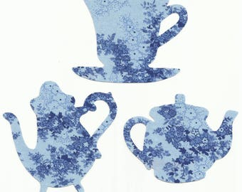 Blue Floral Teacup and Teapots Set Fabric Iron On Appliques