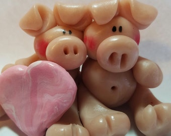 Polymer clay pigs with hearts, hearts that can be personalized, whimsical love pigs, polymer clay, Valentines gift,