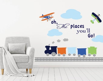 Nursery wall decals / buy wall decals / oh the places you'll go / vinyl wall decal / wall decals / plane decals / train wall decal