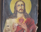 Tattered and Torn Jesus Sacred Heart Painting