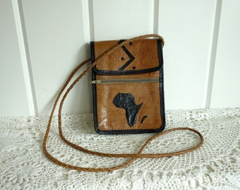 Vintage Small Micro Stash Crossbody Flap Bag Glazed Leather Purse Africa Applique Black Lives Matter