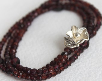 Red Garnet Wrap Bracelet/Necklace