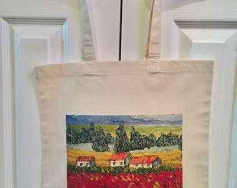 Field of Tulips canvas tote bag