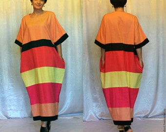 In stock Cocoon Summer Colorful  Multicolor dress plus size