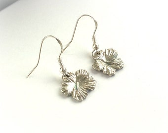Silver Hibiscus Flower Earrings,Small Hibiscus Flowers,Dangling Flower Earrings, Flower Jewelry