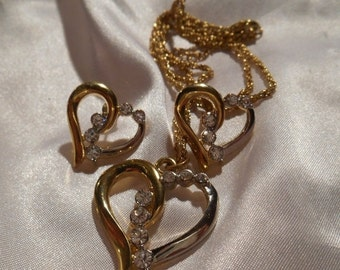25% OFF SALE Two tone heart pendant and pierced earring set with rhinestones