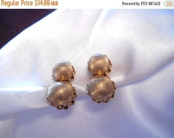 50% OFF SALE Vendome Textured Bead Gold Tone Clip Style Vintage Earrings