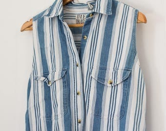 Vintage striped tunic / small / women's / white / blue / summer / indie / cotton