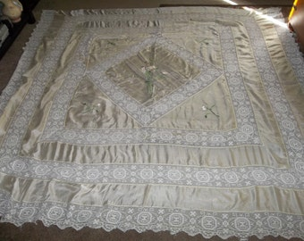 "Antique 1920 Era FRENCH Silk Bed Spread ...Good / Fair Condition...Big 80 "" SQUARE..FREE Shipping"