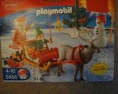 old rare playmobil red Christmas case building blocks santa reindeer boy girl toy fast ahip