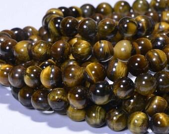 Tigers Eye 8mm Beads Half Strand Natural Gemstone Beads Craft Supplies Jewelry Making
