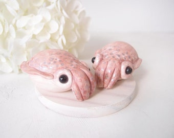 Love Wedding Cake Toppers -  Bobtail Squid with base