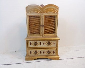 Vintage Ornate Large Florentine  Wood Jewelry Box Armoire Made in Japan
