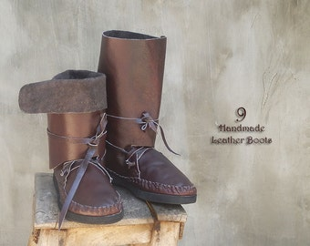 SALE-40%OFF!! Leather Boots for Women Brown White Moccasin/Long Medium Short