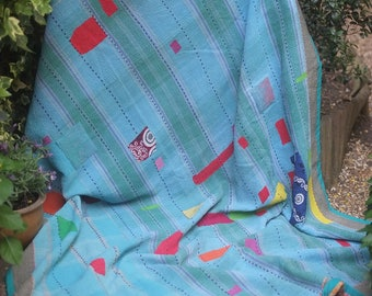 Heavy turquoise Kantha quilt, silk Kantha quilt, Vintage kantha, Sari throw, kantha blanket, Kantha throw, Indian quilt