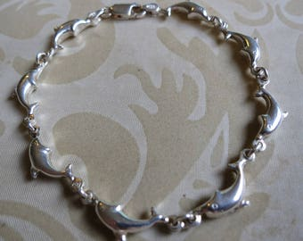 Vintage sterling silver leaping dolphins bracelet 7.5 inches 925 sea nautical (8083)