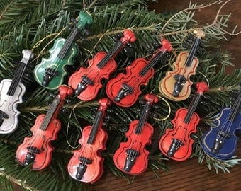 Vintage Wooden Violin Toy Ornaments ~ Lot of 10